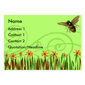 Orange Wild Flowers With Bee Large Business Card