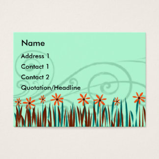 Orange  Wild Flowers with Blue Grass Business Card
