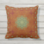 Orange Wine Sage Green Wavy Mandala Tile Outdoor Pillow