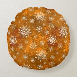 Orange Winter Round Pillow