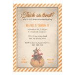 Orange Witch Pumpkin  Vintage Halloween Birthday Announcement