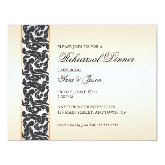 Orange with Black Swirly Ribbon Rehearsal Dinner Card