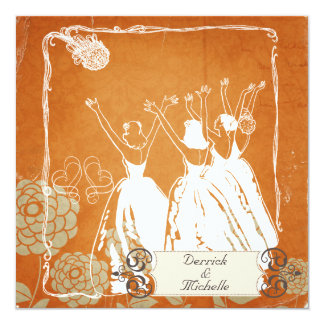 Orange With Blooms Toss the Bouquet Wedding Invite