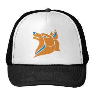 Orange with Blue Solid Wolf Head Trucker Hats