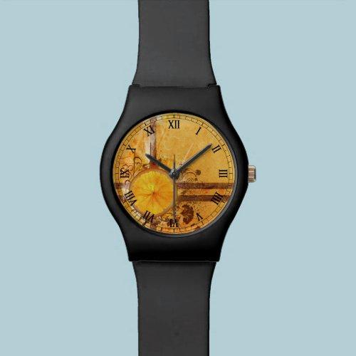 orange with butterfly vector swirl flowers art wrist watches