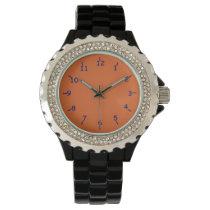 Orange with Dark Blue Numbers Wrist Watch