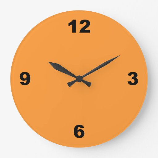 Orange With Large Black Numbers Wall Clock Zazzle