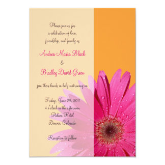 Orange with Pink Gerbera Daisy Wedding Invitation