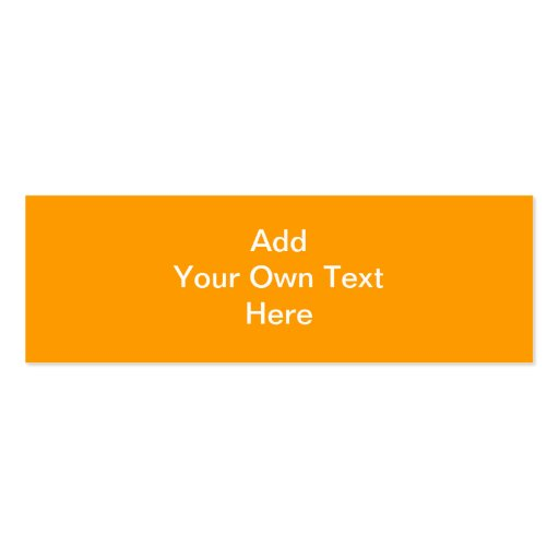 Orange with white area and text. mini business card