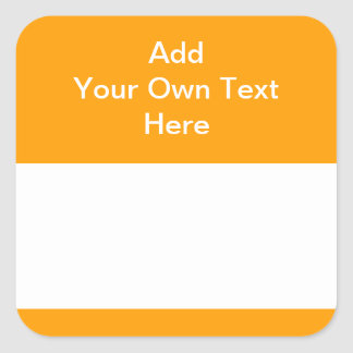 Orange with white area and text. square sticker