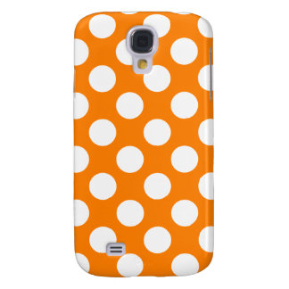 Orange with White Polka Dots Samsung Galaxy S4 Case