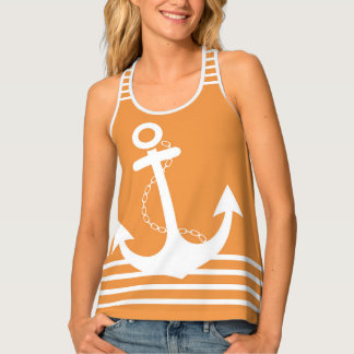 Orange with White Stripes and Anchor Design Tank Top