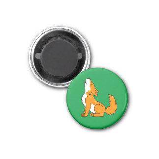 Orange Wolf Pup Howling 1 Inch Round Magnet