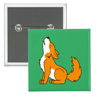 Orange Wolf Pup Howling Button