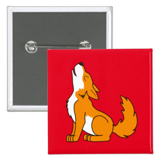 Orange Wolf Pup Howling Pinback Button