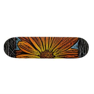 Orange Woodcut Flower Skateboard
