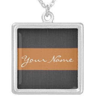 Orange & Woodgrain Customizable Name Necklace