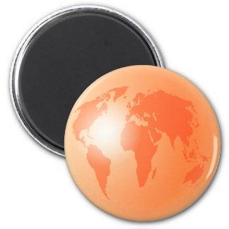 Orange World Globe Magnet