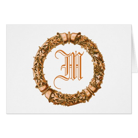 Orange Wreath Monogrammed Note Cards