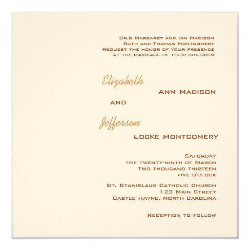 Orange Wreath Monogrammed Wedding Invitation