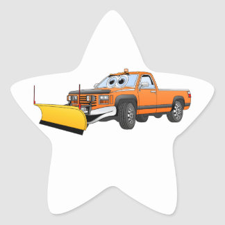 Orange Y Pick Up Snow Plow Cartoon Star Sticker