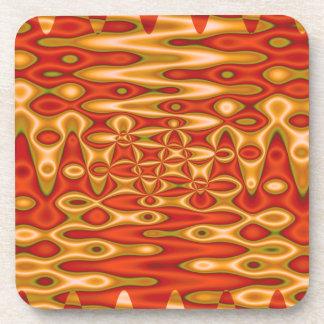 orange yellow abstract art beverage coaster