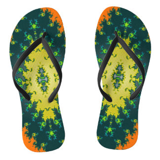 Orange Yellow Abstract Flip Flops