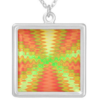 orange yellow abstract square pendant necklace