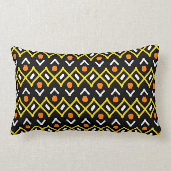 Orange Yellow and Black Abstract Tribal Pattern Lumbar Pillow