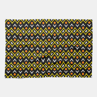 Orange Yellow and Black Abstract Tribal Pattern Towel