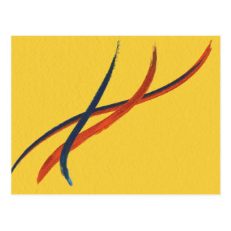 Orange, Yellow and Blue Watercolor Abstract Postcard