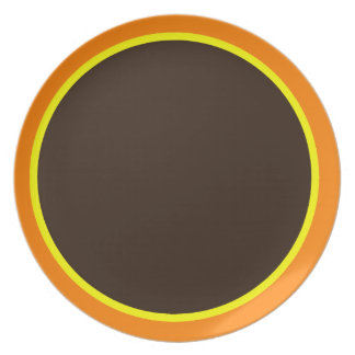 Orange Yellow and Dark Brown Plate