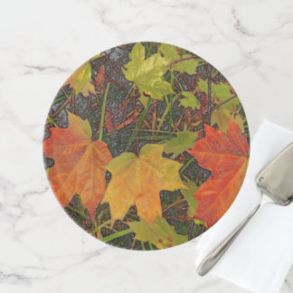 """""""ORANGE, YELLOW AND GREEN FALL LEAVES"""" CAKE STAND"""