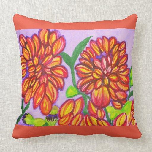 Orange, Yellow and Purple Dahlias Watercolor Throw Pillow Zazzle