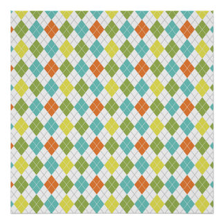 Orange, Yellow, and Teal, and Green Argyle Poster