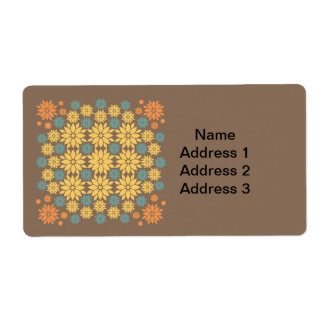 Orange Yellow and Teal Flowers on Brown Label