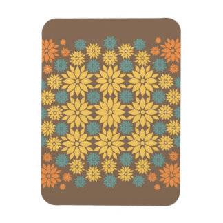 Orange Yellow and Teal Flowers on Brown Magnet