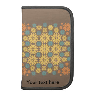 Orange Yellow and Teal Flowers on Brown Folio Planner