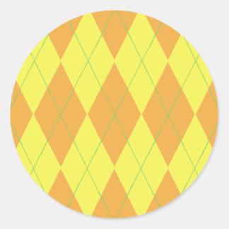 Orange & Yellow Argyle Classic Round Sticker