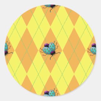 Orange & Yellow Argyle Ladybug Classic Round Sticker