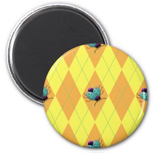 Orange & Yellow Argyle Ladybug Refrigerator Magnet