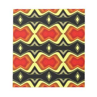 Orange Yellow Black Fall Tribal Pattern Notepad