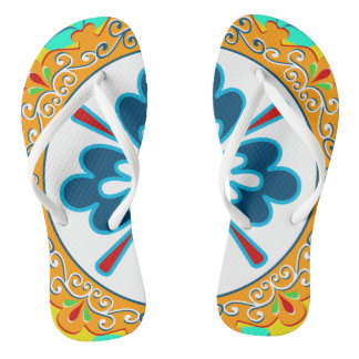 Orange, Yellow, Blue and White Plate Flip Flops