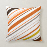 [ Thumbnail: Orange, Yellow, Brown and White Diagonal Stripes Throw Pillow ]