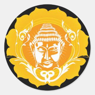 Orange & Yellow Buddha Classic Round Sticker
