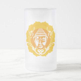 Orange & Yellow Buddha Frosted Glass Beer Mug