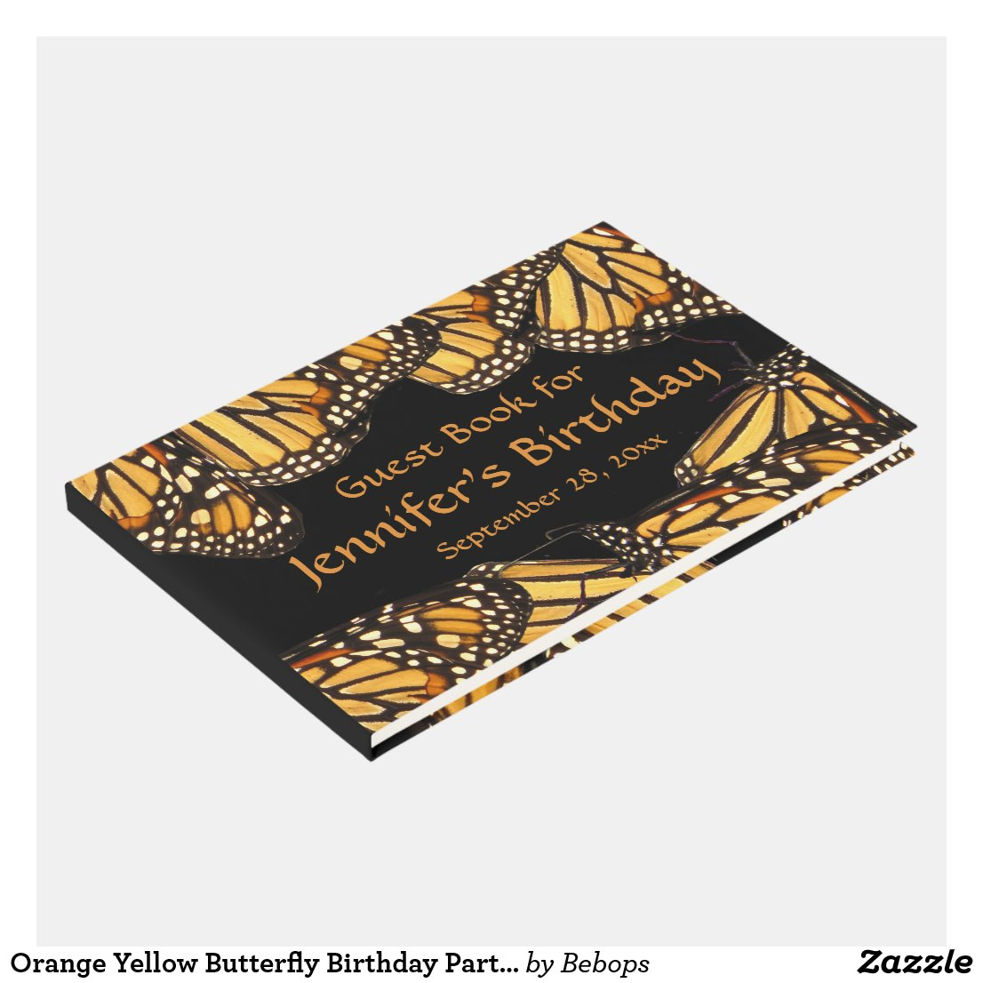 Orange Yellow Butterfly Birthday Party Guest Book