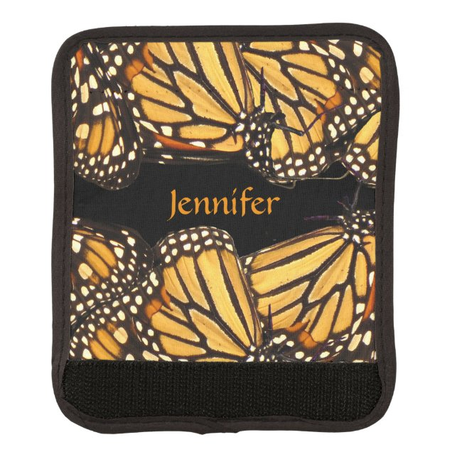 Orange Yellow Butterfly Luggage Handle Wrap