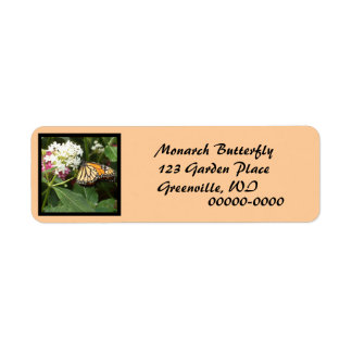 Orange Yellow Butterfly Pink White Flowers Label