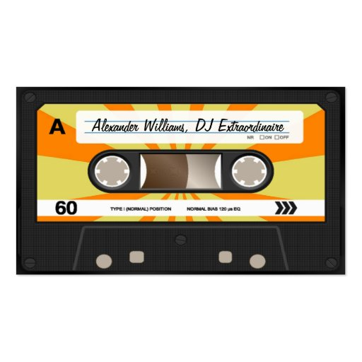 Orange/Yellow Cassette Tape Business Card Templates